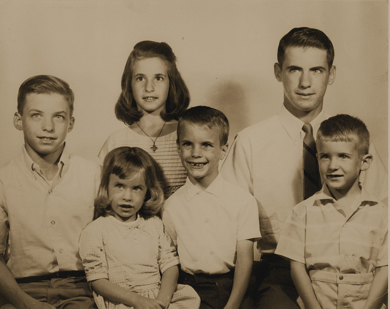 Where's Joey? Sadly Thrifted: Found Photo Portrait of 6 Siblings